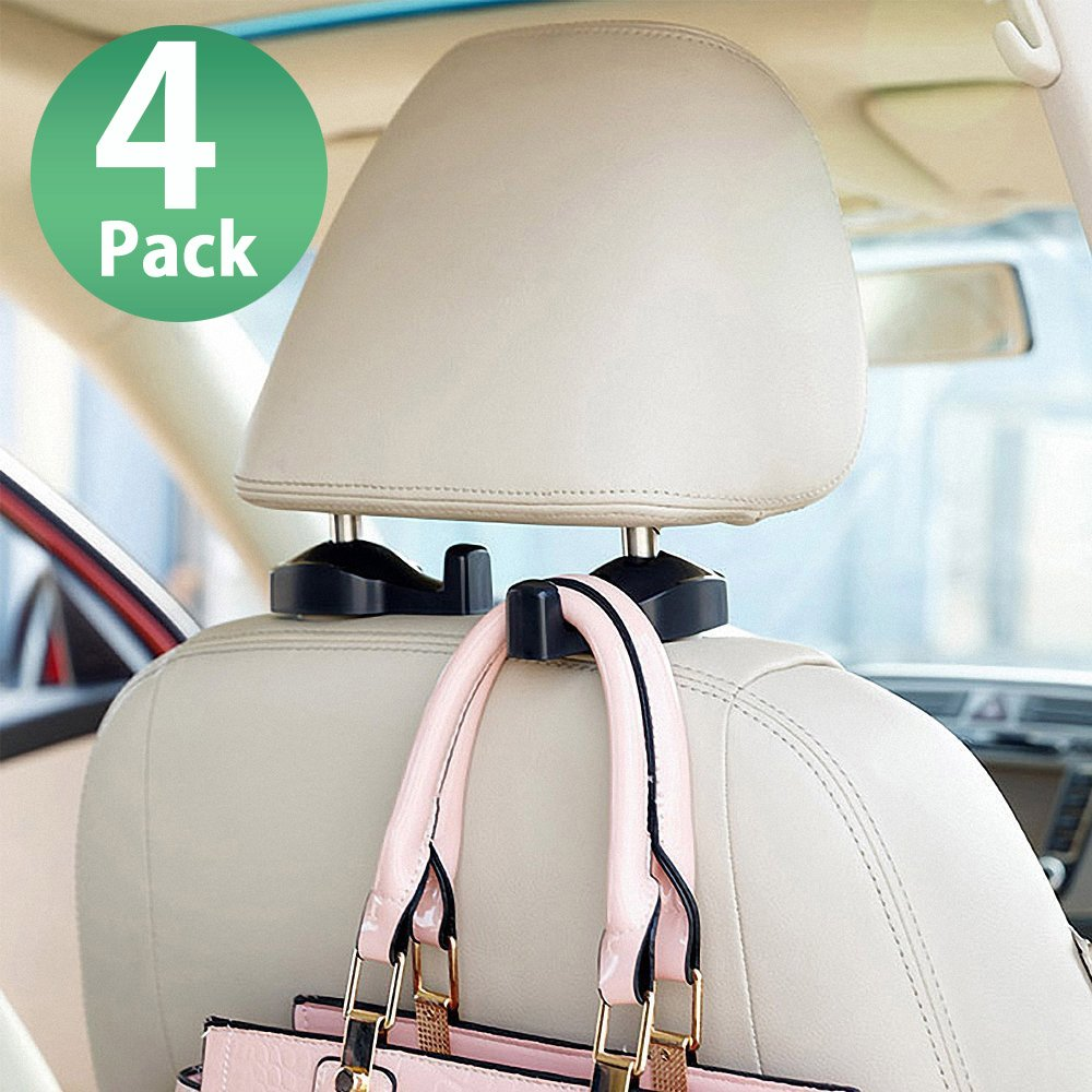 MEINA Car Headrest Hook - Headrest Hooks For Car - Car Seat Hooks Organizers - Strong and Durable Vehicle Universal Hanger Holder Storage for Bag Purse Grocery Bottle - 4PACK