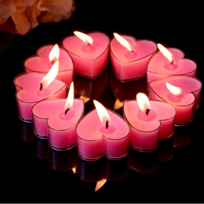 Pink Heart Series Romantic Gift For Proposal Tealight Candles On Sale