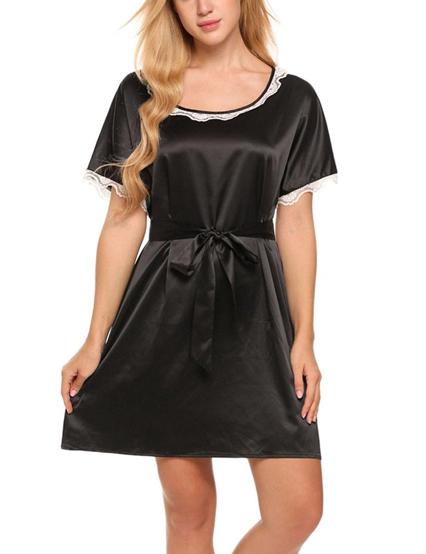 6cba90cb7c Naggoo Women Short Sleeve Nightgown Stain Sleepwear Solid Nightshirts  Pajamas