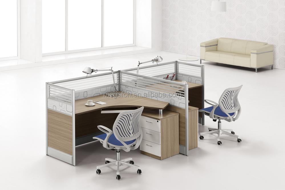 2 People Modern Office Desk/glass Open Office Workstation(FOH P 2528