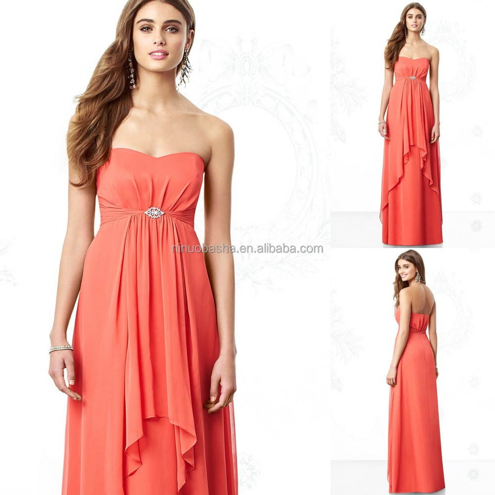 2015 coral bridesmaid dress new arrival long chiffon empire 2015 coral bridesmaid dress new arrival long chiffon empire maternity wear patterns sweetheart full length ombrellifo Images
