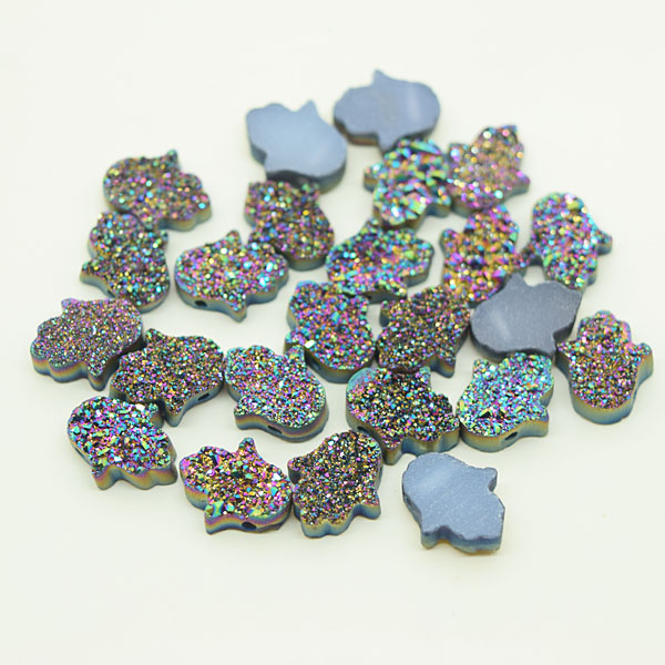 Supplier of Hamsa13x11mm Rainbow Green Natural Druzy <strong>Stone</strong>