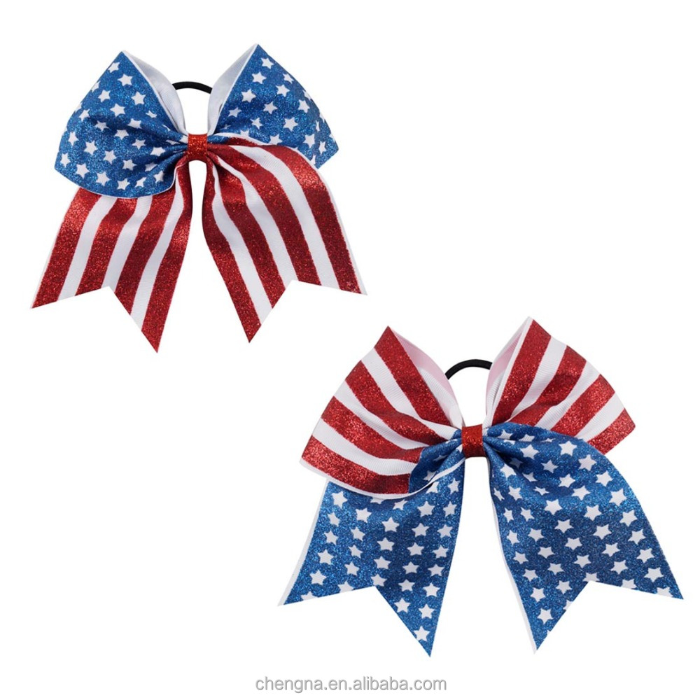 Large Colored Glitter American Flag Cheerleading Cheer Bow BH1944W