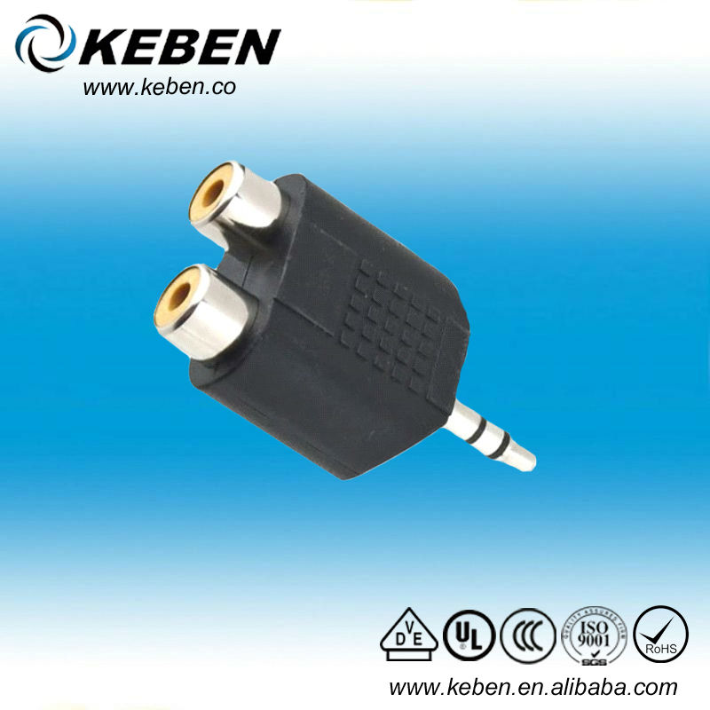 3.5mm Male to 2 RCA Female Y Splitter Audio Adapter
