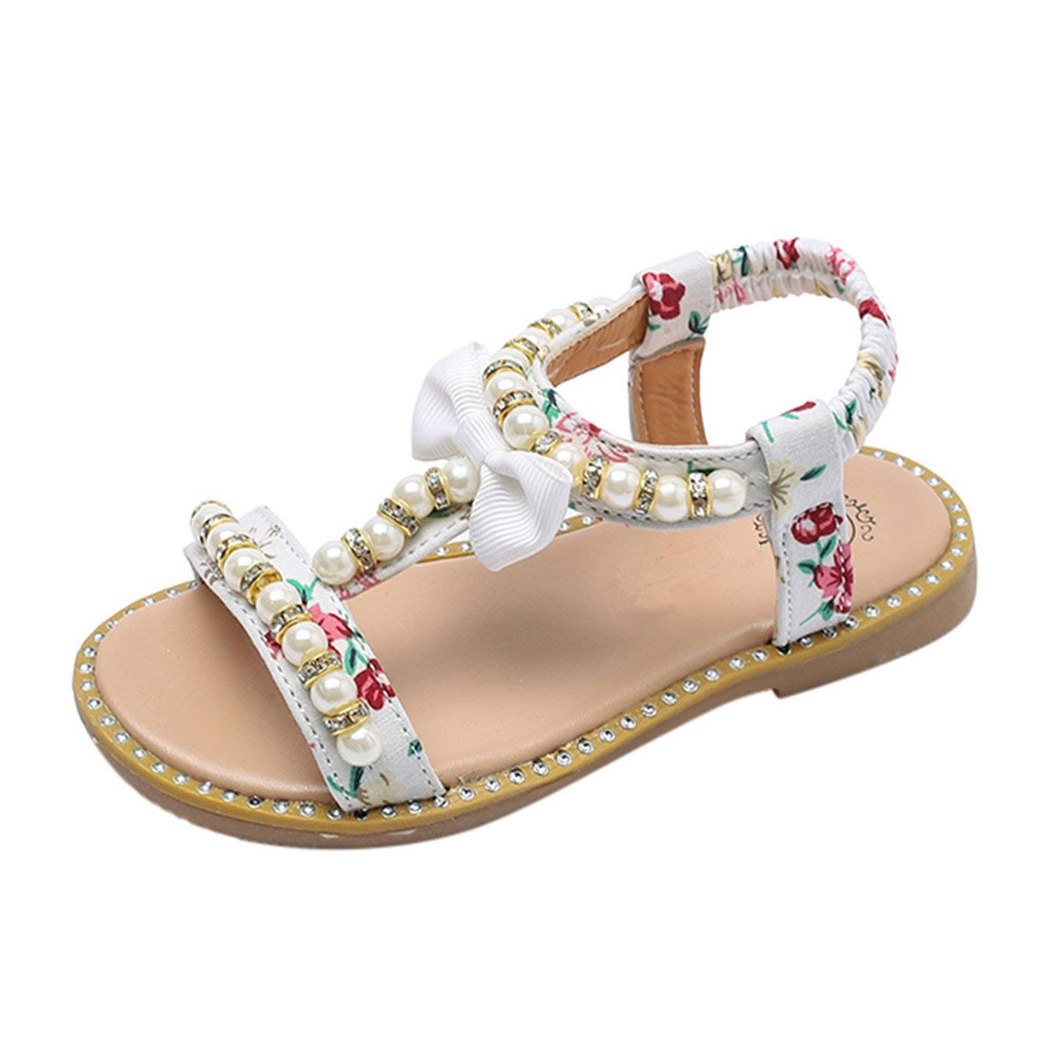 Kids Girls Sandals Bow Pearl Rhinestone Sandals Baby Girls Shoes Crystal Roman Beach Sandals Princess Shoes