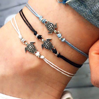 New hot selling turtle anklets handmade wax rope ankle bracelet