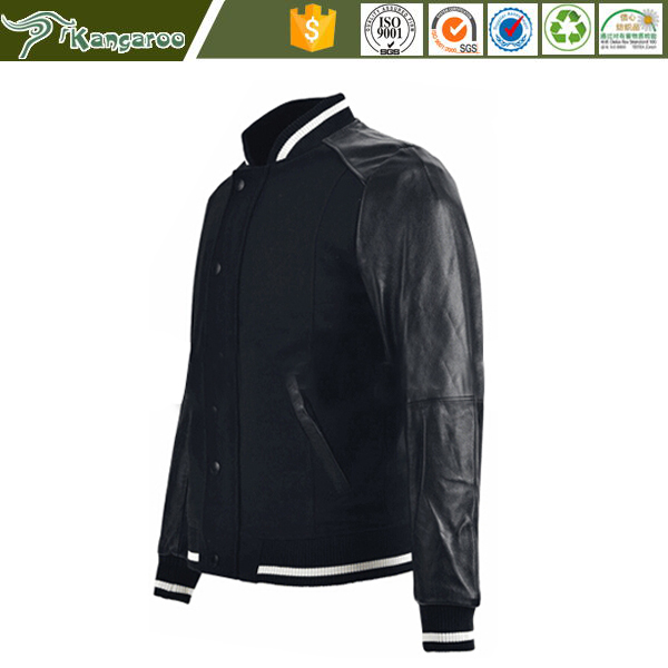 2015 best price wholesale Custom logo baseball letterman varsity wool leather jacket, wool with leather sleeve