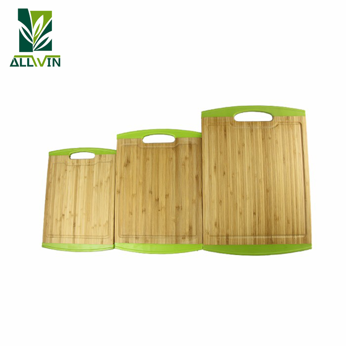 Non-Slip Silicone 3 Pieces Bamboo Cutting Board Set L, M and S Kitchen Cutting Boards for Bread