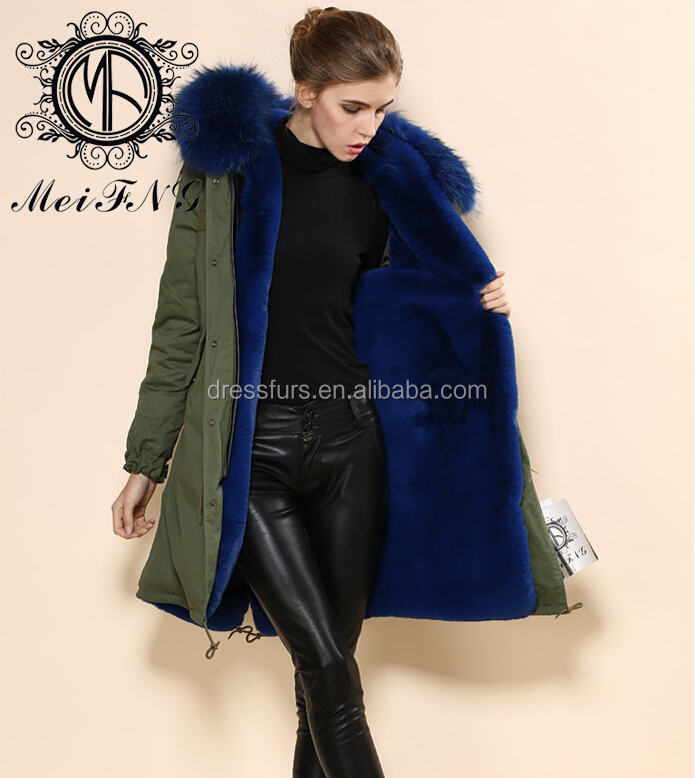 Wholesale Winter Parka Faux Fur Lining With Raccoon Fur Hooded ...