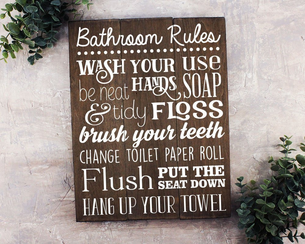 Bathroom Rules Sign Rustic Kids