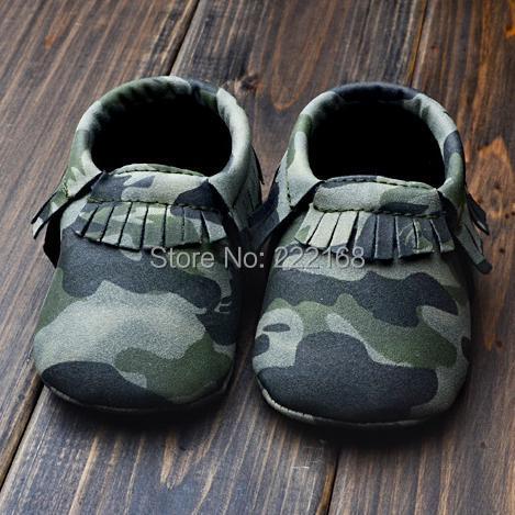 Moda Venta bebé Ejército Mocasines camuflaje verde hecha a mano del bebé de la muchacha de Fringe Botines zapatos del niño primeros caminante