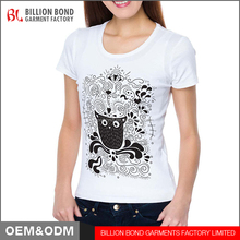 custom logo t shirt Women Cute Owl Printing T Shirt Wholesale