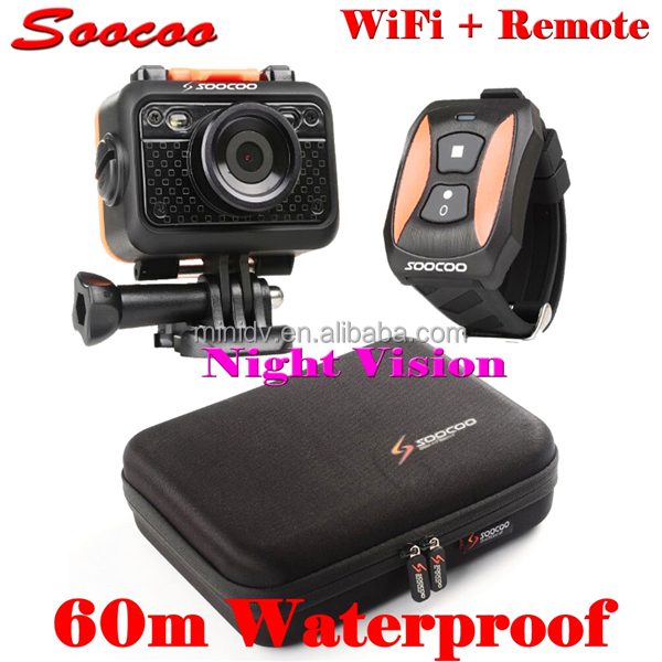 60M Waterproof Full HD 1080P SOOCOO S60 Wifi Sport Action Camera With Watch Remote Control 170 Degree Wide Angle Lens
