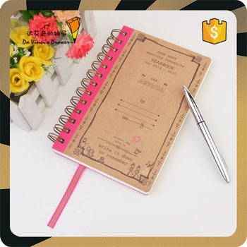 Double Spiral Brown Craft Paper Neon Offset Printing Notebook Buy