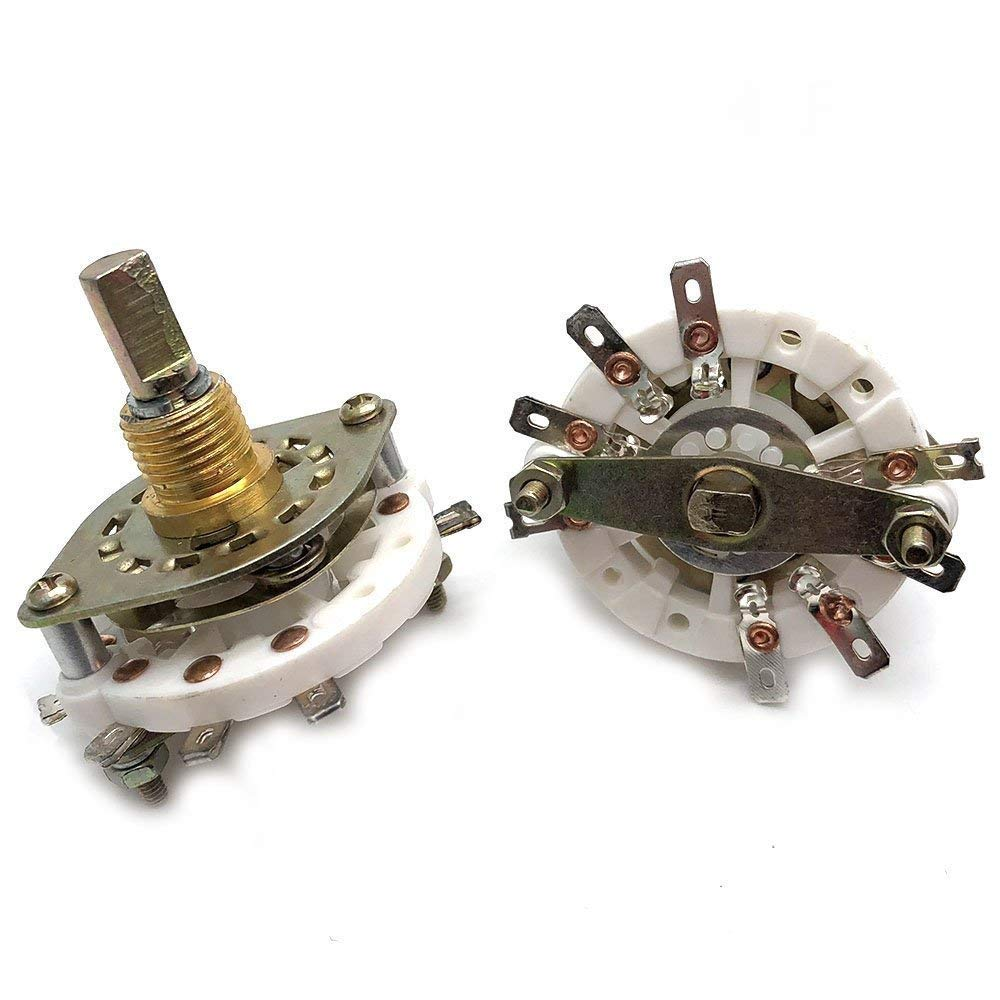 Yootop 4 Pcs Dia 6mm/0.23 Inch 2 Pole 3 Position Shaft Band Channel Rotary Switch Selector