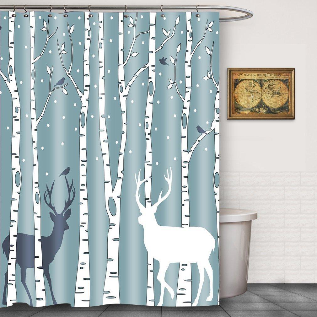Get Quotations FOOG Shower Curtain Christmas Deer Birds Bathroom Tree Waterproof Fabric With