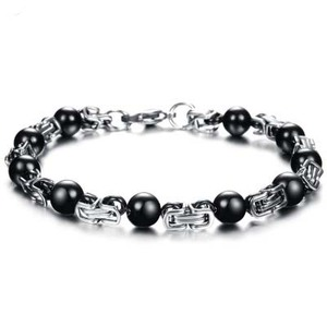 Fashion custom men's beads stainless steel braclet wholesale