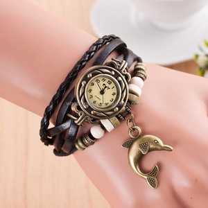A new flower dolphin Vintage pendant multi Pu colorful marine footprint Leather Bracelet Watch