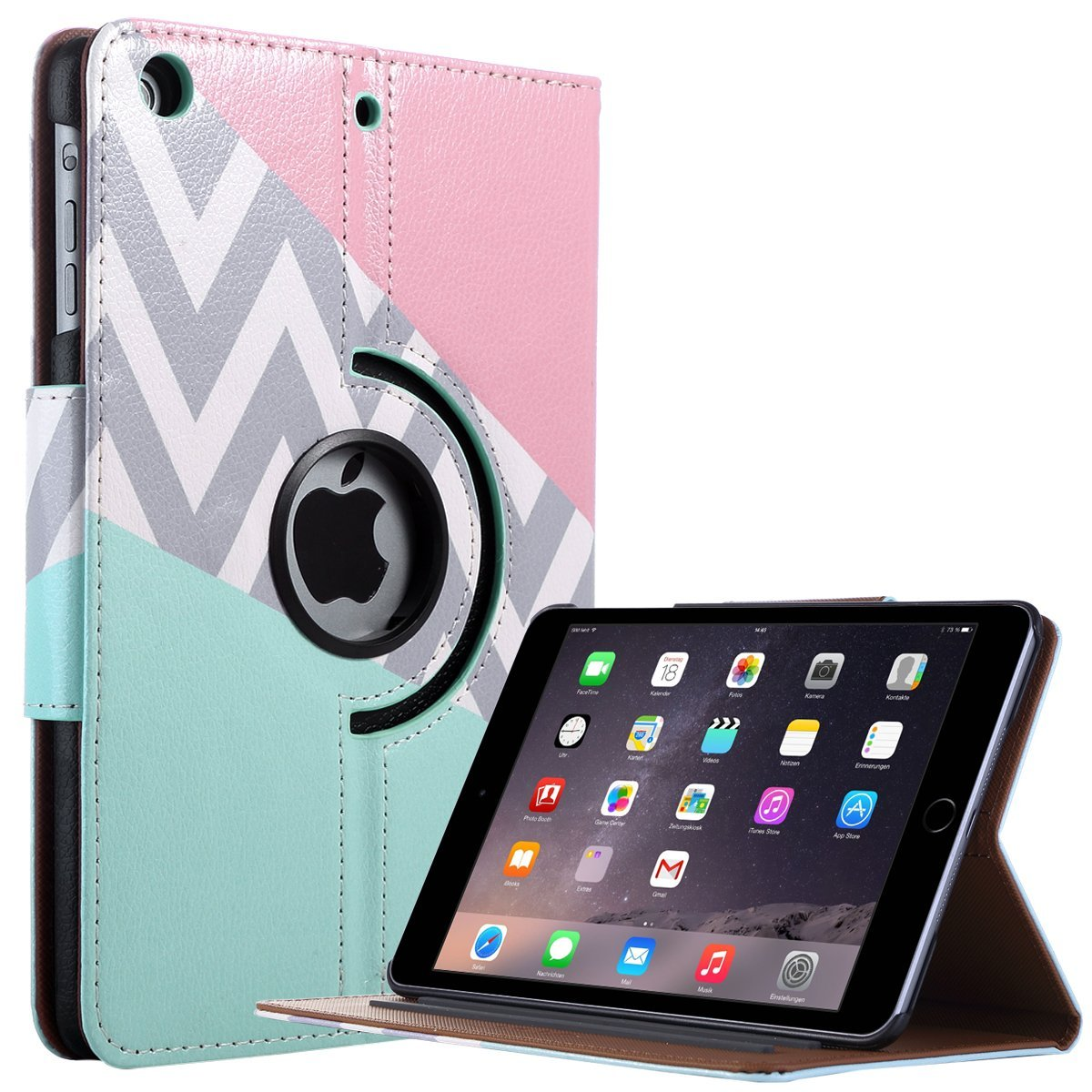 iPad Mini Case,iPad Mini 2 Case,iPad Mini 3 Case,iPad Mini Retina Case,ULAK 360 Degree Rotating Synthetic Leather Case Cover for Apple iPad Mini 1/2/3 with Auto Sleep/Wake Function(Pink/Mint)
