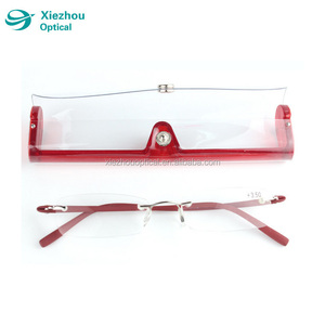 Rimless super light Metal frames Reading glasses TR90 temple with case