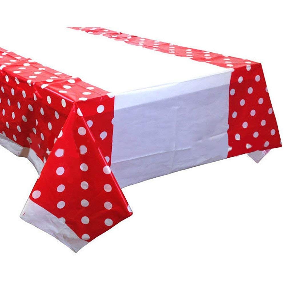 Get Quotations Ton Disposable Polka Dot Rectangle Plastic Tablecloth Wedding Banquet Table Cover Decor Red
