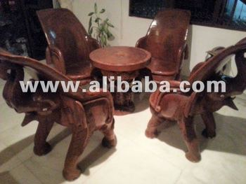 Hand Carved Teak Elephant Table Four Chairs Buy Table And 4