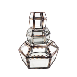 New Product Metal Antique Glass Jewelry Ring Box