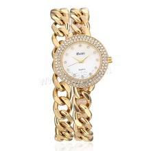 Wholesale 2-strand adjustable waterproof curb chain watch movement mechanical with rhinestone
