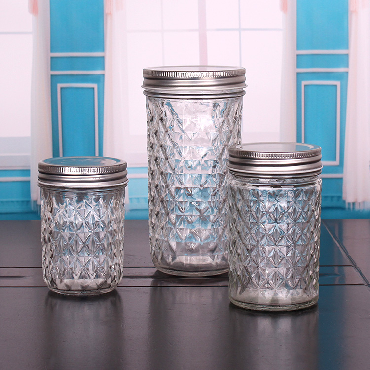 300ml Crytal Ball Glass Mason Jar Beverage Cup with Custom Lids