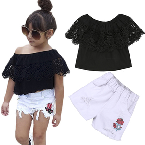 Boutique Girl Outfits Lace Top Jeans Set Children Clothing girl clothes set