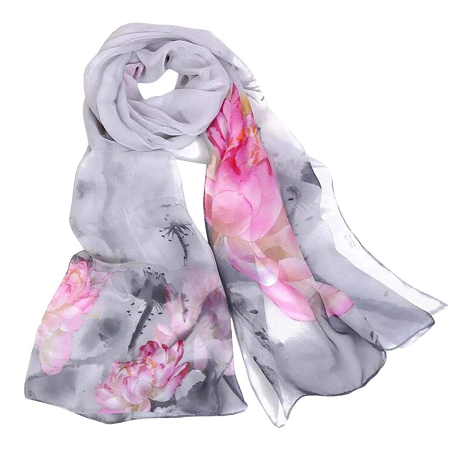 Women Scarves,Shybuy Ladies Fashion Large Flower Shawls Wraps Lightweight Lotus Pattern Scarf Headscarf or Neck
