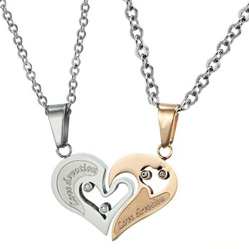 Half love heart pendant necklace for couplewhite and gold half love half love heart pendant necklace for couple white and gold half love heart pendant necklace aloadofball Choice Image