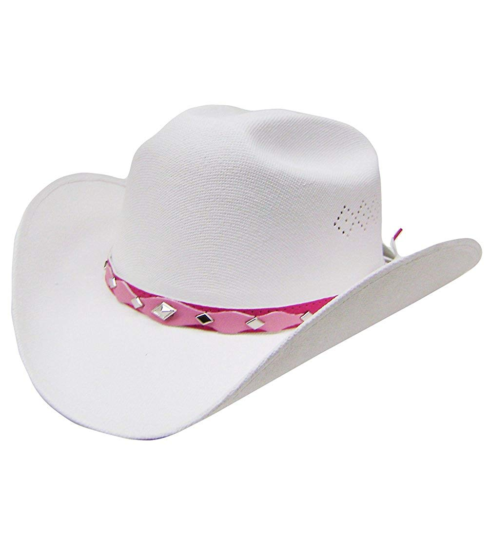 Get Quotations · Modestone Girl s Straw Cowboy Hat White   Sizes for Small  ... c56f199514d2