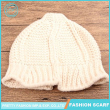 Children's Knitted Curling Nipple Shape White Infant Hats