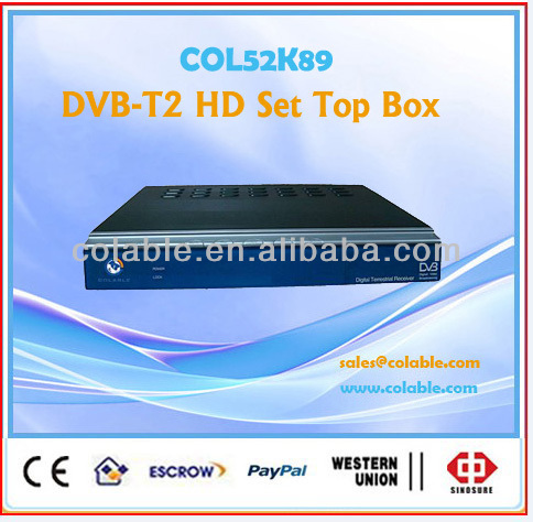Free to air satellite DVB-t2 receiver stb,hd tv dvb t2 set top box COL52K89