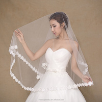 Wholesale White Bridal Veils 1.5m One-Layer Lace Trim Wedding Veils Cheap In Stock Wedding Accessories