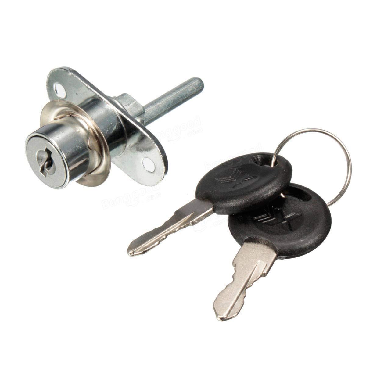 Hardware & Accessories Door Hardware & Locks - Aluminium Alloy Cam Lock For Cabinet Drawer Locker with 2 Keys 16mm - Chrome - 1 X 16mm Lock 2 X Keys