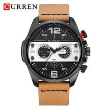 Мужские часы CURREN, армейские, спортивные, водонепроницаемые, кварцевые, с кожаным ремешком(Китай)