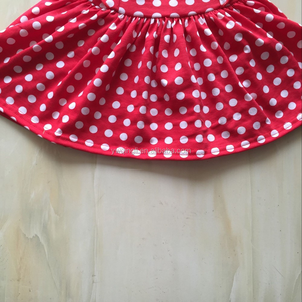 2016 Summer Foreigners' Clothes Short Sleeve Red Polka Dots Baby Girl Party Dress