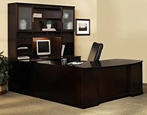 "Mayline U Shaped Bow Front Desk W/Hutch Overall Footprint: 72"" X 111"" X 72"" Bow Front Desk: 72""W X 39""D X 29 1/2""HBridge: 48"" X 20"", Credenza: 72""W X 24"" - Espresso - Bridge on Left (Right Shown)"