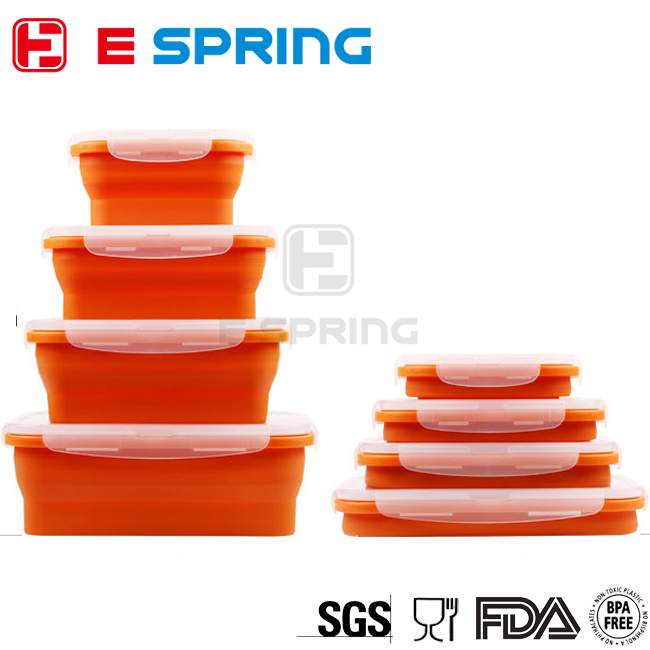 Hot in Amazon 5pcs Expandable Collapsible Silicone Lunch Box