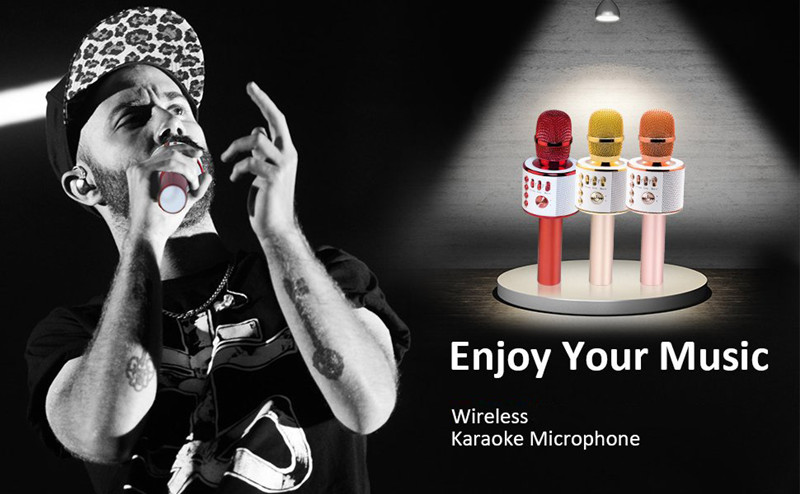 Q37 Karaoke Microphone KTV TF Card Wireless Speaker Machine For Kids