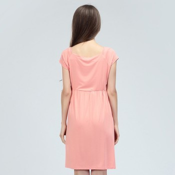 Modal Pregnant Dresses Pink Maternity Clothing Soft Comfortable Breastfeeding Clothes