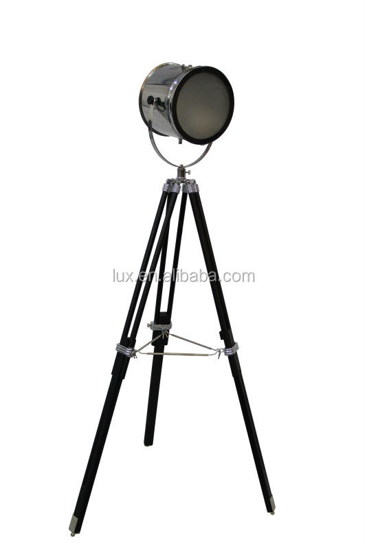 Metal Tripod Floor Lamp From China Factory Wooden Leg Studio Style ...