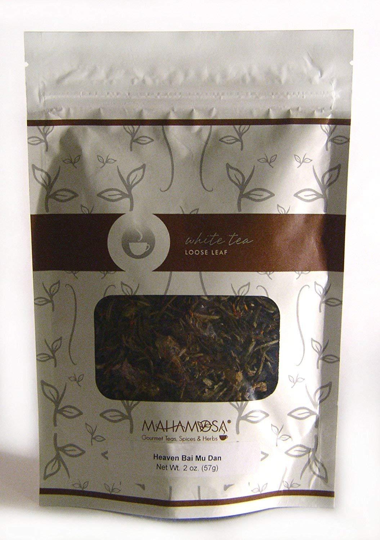"Mahamosa ""Heaven"" White Tea (Pai Mu Tan) 2 oz, White Tea Loose Leaf (Loose-Leaf) Blend (with cranberry, safflower, rosebuds, blue mallow blossoms, cherry, cranberry flavor)"