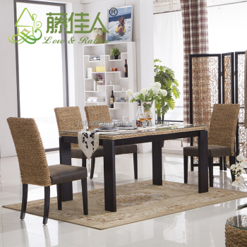 Java Home Living Sunroom Natural Rattan Water Hyacinth Bamboo Dining Table Chairs Set Bali Style