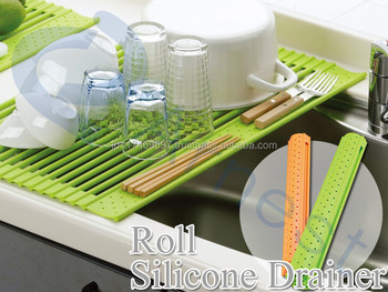 Silicone Household Products Tools Kitchenware Dishes Drainer Kitchen Sink  Slicone Roll Mat Silicone Foldable Roll Mat