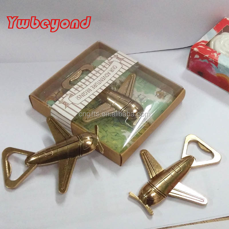 Ywbeyond Free shipping Wholesale Unique birthday gifts for best friend Let the Adventure Begin Airplane Beer Bottle Opener