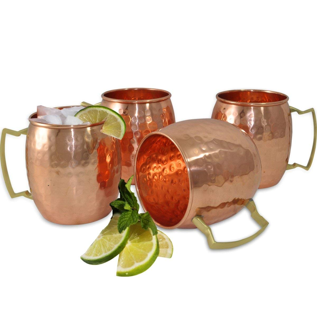 AsiaCraft Hammered Copper Moscow Mule Mug Handmade of 100% Pure Copper, Brass Handle 16 Oz No Inner Lining Set of 4– Lacquered Finish – FDA Approved