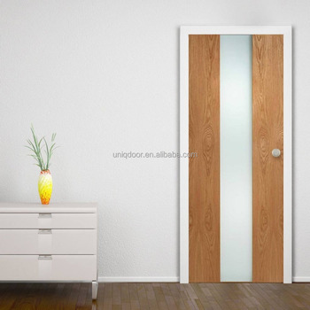 Modern Type Middle Glass Insert Oak Veneered Wood Interior Door